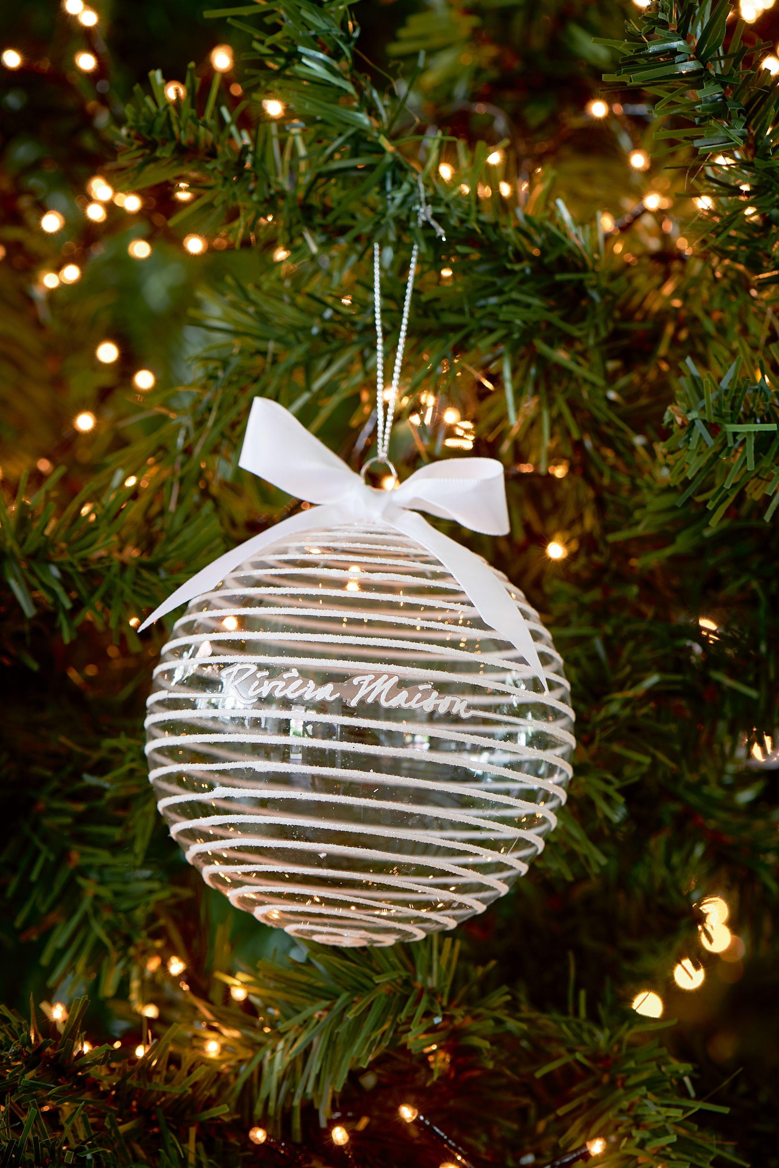 Skleněná vánoční ozdoba Snow Striped Ornament white Dia 10 cm