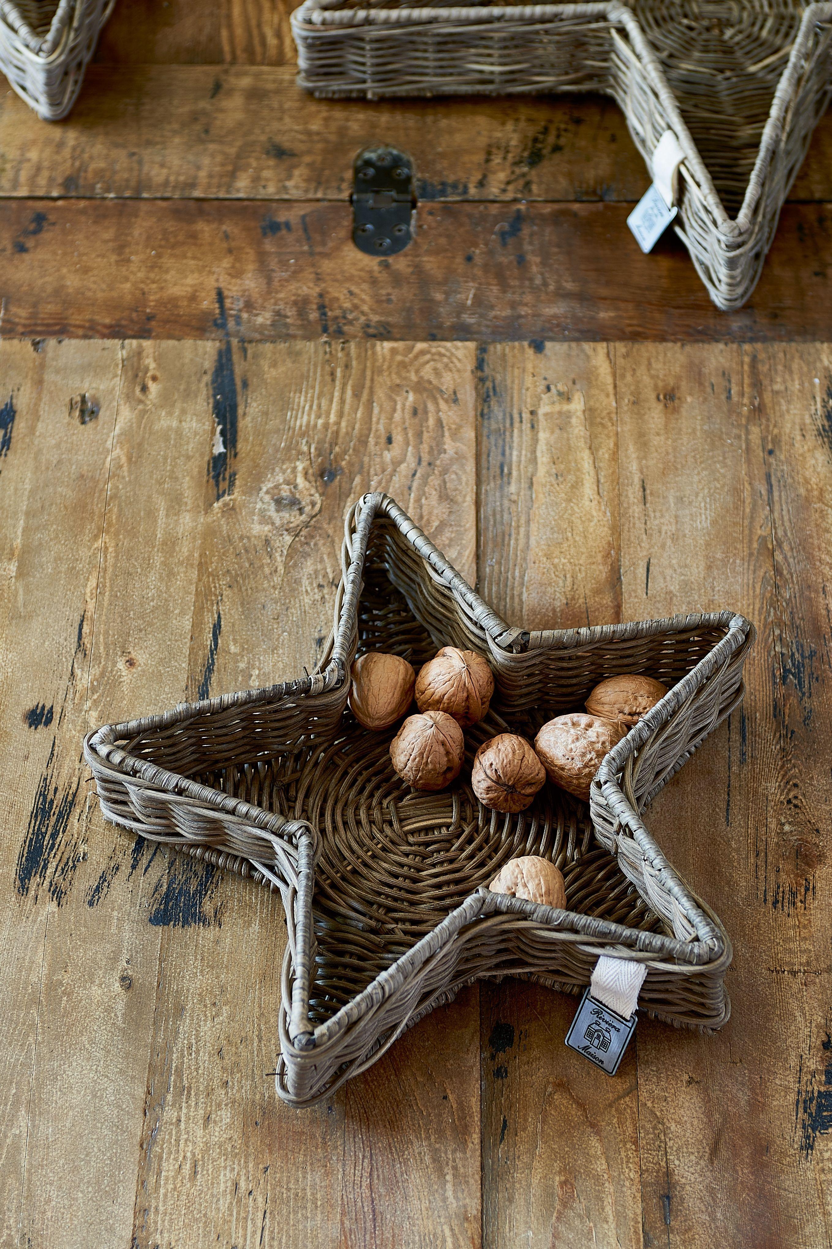 Ratanová vánoční dekorace Rustic Rattan Star Tray S