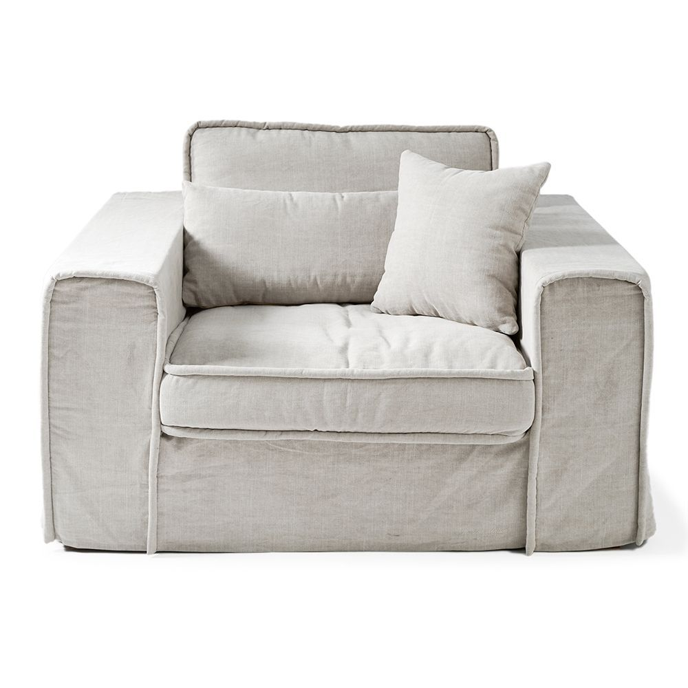 Metropolis Love Seat, Washed Cotton, Ash Grey