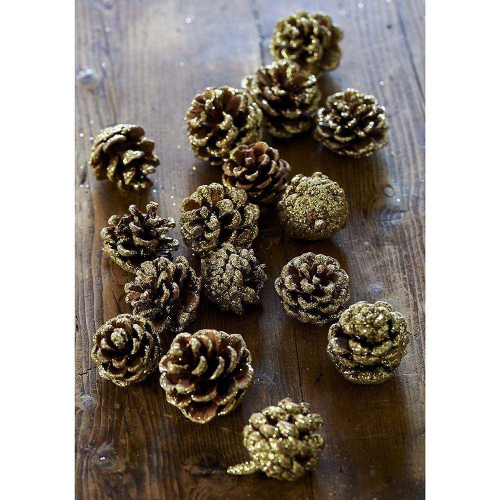Dekorace Majestic Pinecones gold