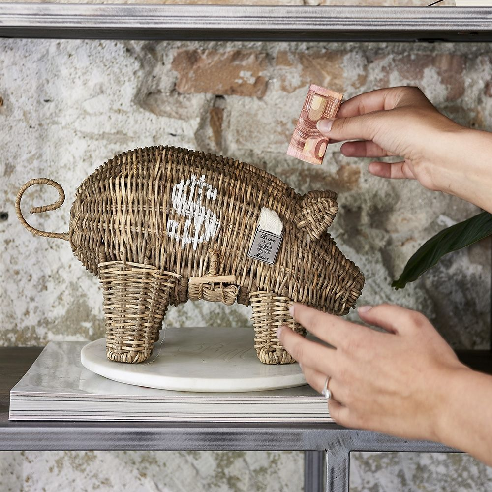 Pokladnička Rustic Rattan Piggy Money Saver