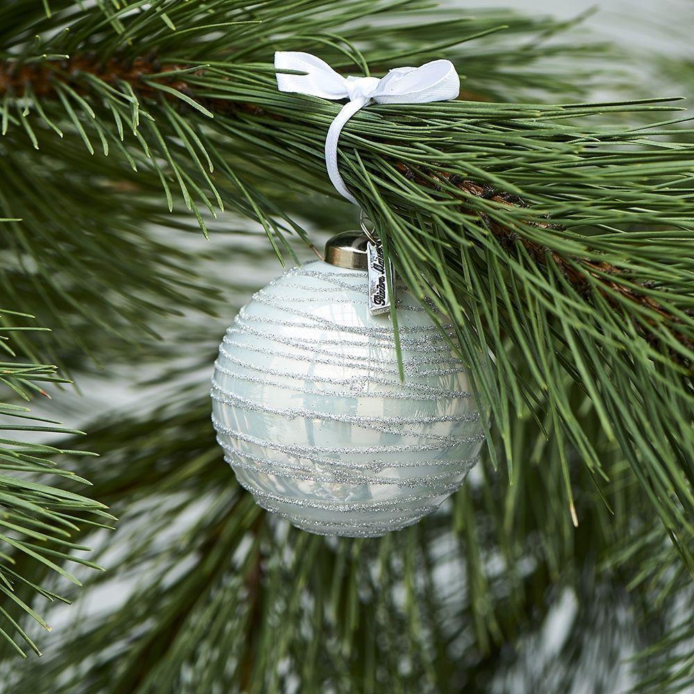 Vánoční ozdoba Glittering Christmas Ornament white Dia 8
