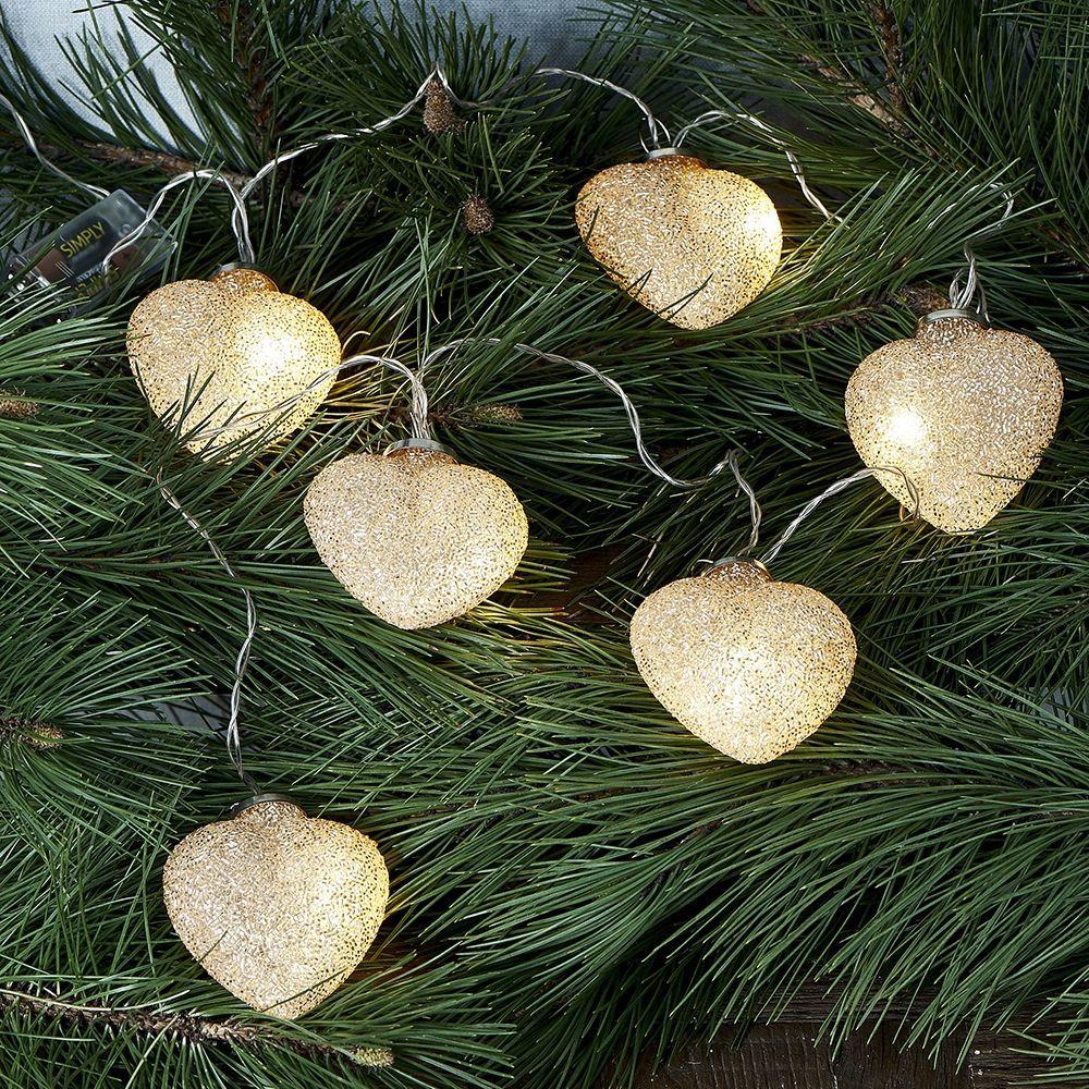 Vánoční osvětlení Sparkling Hearts Light String gold