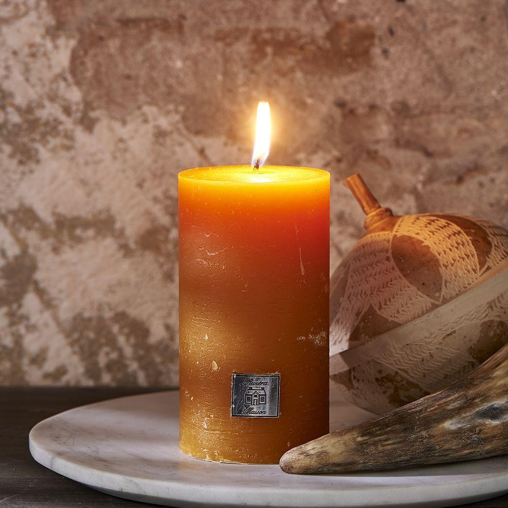 Svíčka Rustic Candle ocher yellow 7 x 13