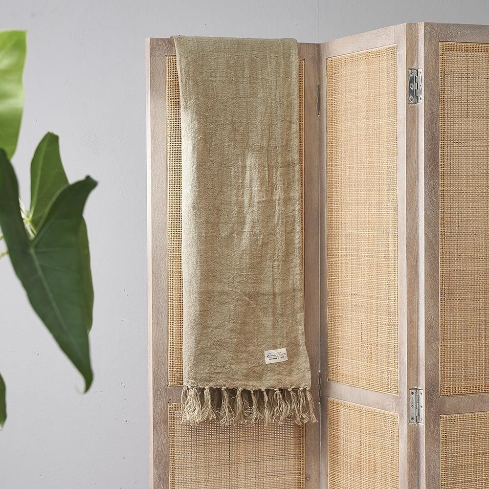 Luxury Linen Throw green 180 x 130