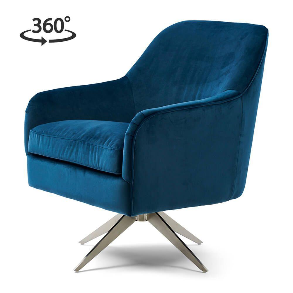 Otočné křeslo Fawcett Swivel Chair, Velvet, Ocean Blue