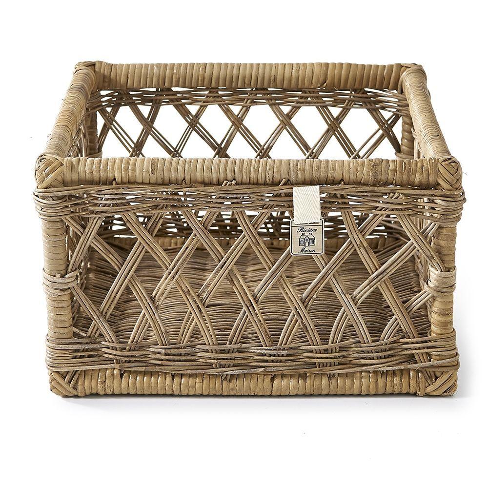 Košík  Rustic Rattan Basket Open Weave