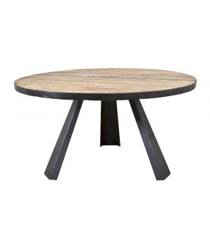 Dining table round with metal leg
