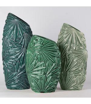 Set 3 váz Green ceramic Tropical 38h/46h/53h
