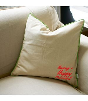 Having a happy... neon green pillow cover 50x50cm