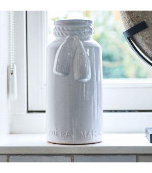 Váza Tassel Craquele Pot White
