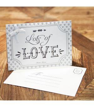 Přáničko  Postcard Lots of Love +envelope