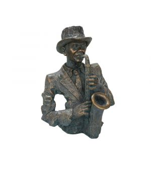 Saxophonist bust in antique bronze
