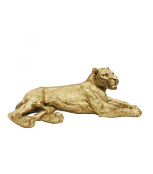 Lioness in Resin Antique Gold, 113cm
