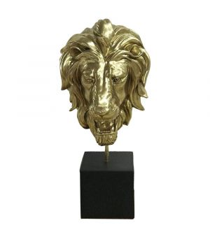 S/2 LION HEAD IN RESIN ANT.GOLD ON STAND 20x20x44h