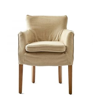 Waverly Armchair w/ loose cover, Linen, Flax