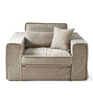 Metropolis Love Seat, Washed Cotton, Natural