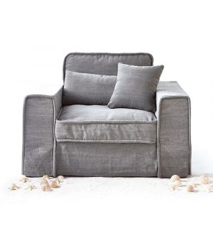 Metropolis Love Seat, Washed Cotton, Grey