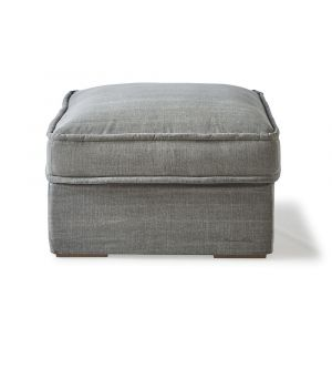 Metropolis Hocker, Washed Cotton, Grey 80 x 80 cm