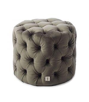 Opera Footstool, Velvet, Grey ∅ 55 cm