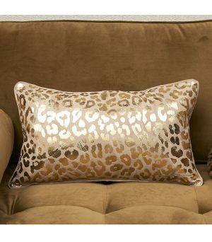 Návlek na polštář Leopard Leather Pillow Cover gold 50 x 30