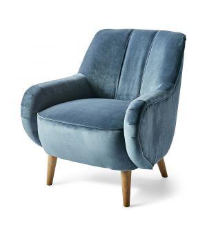 Harper Armchair, Velvet, Ocean Blue