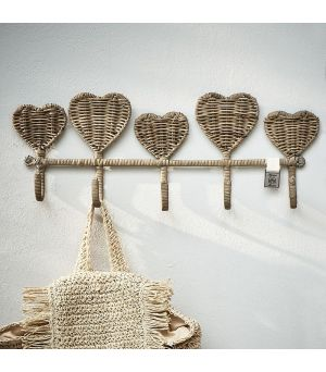 Věšák Rustic Rattan Pretty Hearts Coat Rack