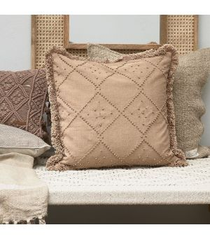 Návlek na polštář  Basic Bliss Fringe Pillow Cover beige 50 x 50