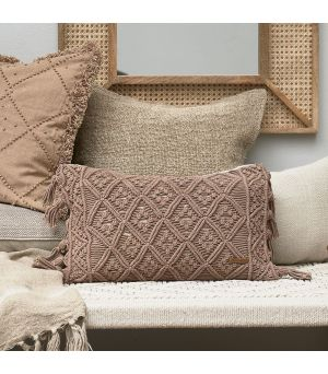 Návlek na polštář Basic Bliss Macrame Pillow Cover taupe 50 x 30
