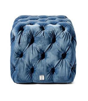 California Pouf, Velvet, Blue 50 x 50 cm