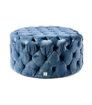 Opera Hocker, Velvet, Blue ∅ 78 cm