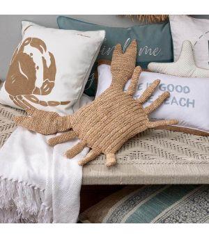 Raffia Crab Pillow natural