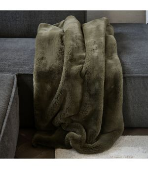 Faux Fur Throw Green 170 x 130