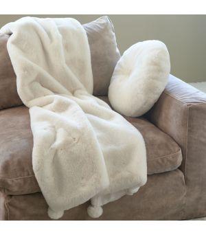 Cosy Pompon Faux Fur Throw 170 x 130