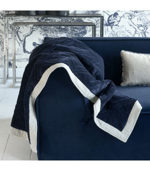 Joie de Vivre Velvet Quilted Throw dark blue 180 x 130