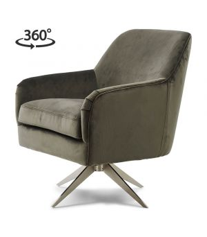 Otočné křeslo Fawcett Swivel Chair, Velvet, Grey