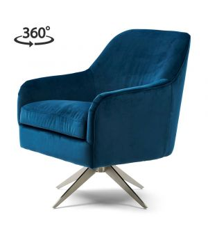 Otočné křeslo Fawcett Swivel Chair, Velvet, Ocean Blue