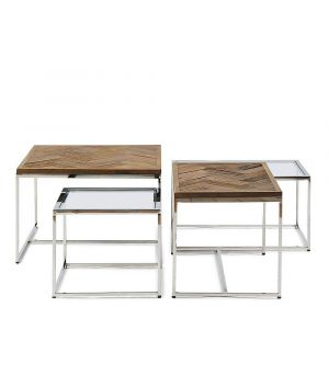 Konferenční stolek Bushwick, sada 4ks, 60x60cm