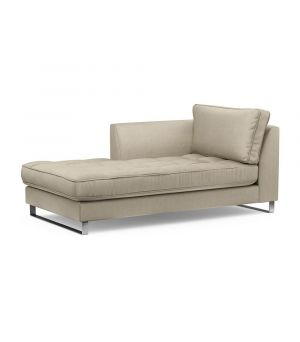 West Houston Chaise Longue Left, Velvet, Pearl
