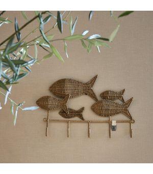 Věšák Rustic Rattan Happy Fish