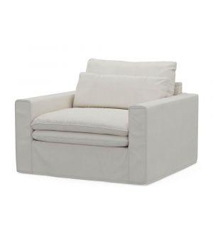Continental Love Seat, Oxford Weave, AlasWhite