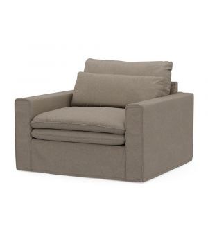 Continental Love Seat, Oxford Weave, AnvFlax