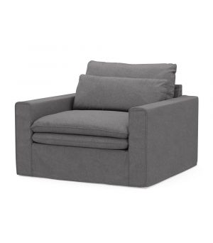 Continental Love Seat, Oxford Weave, StGrey