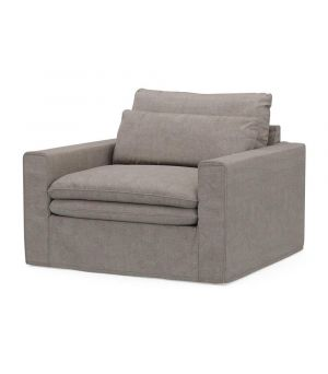 Continental Love Seat, Washed Cotton, Stone