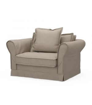 Carlton Love Seat, Oxford Weave, Flax