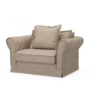 Carlton Love Seat, Washed Cotton, Natural