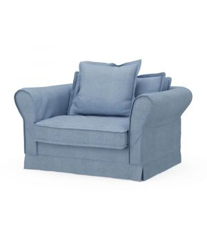 Carlton Love Seat, Washed Cotton, IceBlue