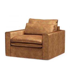 Continental Love Seat, Velvet, Cognac