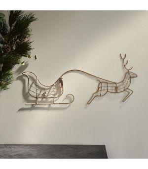 Rustikální ratanová vánoční dekorace na stěnu Rudolf