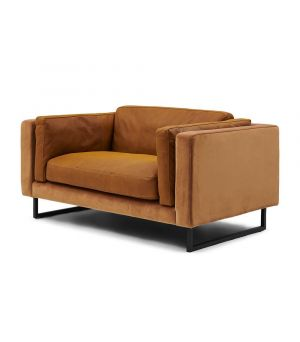 Biltmore Love Seat, Leather, Cognac